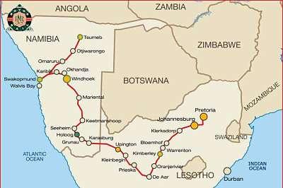 Carte Afrique Du Sud Namibie.Rovos Rail Afrique Du Sud